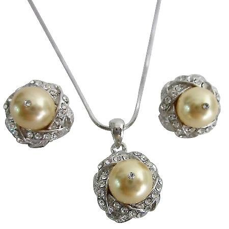 Pearls Necklace Set Swarovski Light Gold Low Price Wedding Jewelry