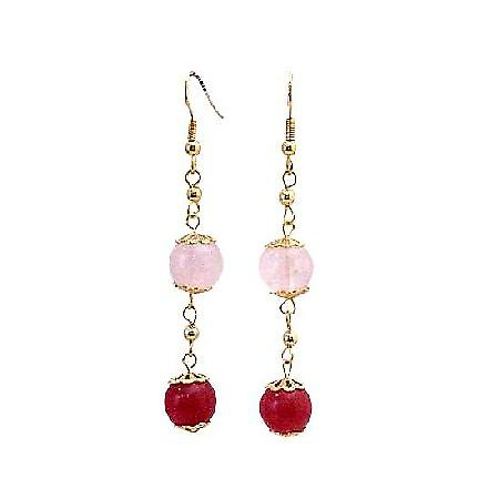 Rose Quartz Stone Bead Ruby Accented in 22k Gold Plated Chain Earrings