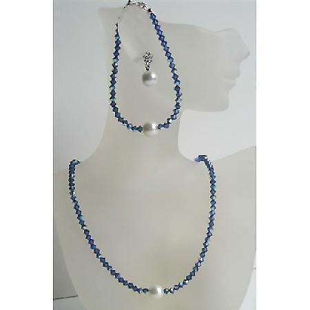 Swarovski Crystals Jewelry Dark AB Sapphire Crystals Pearls Stud Set