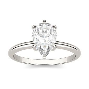 14K White Gold Moissanite by Charles & Colvard 9x6mm Pear Engagement Ring, 1.50ct DEW