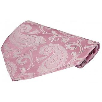 David Van Hagen Luxury Paisley Silk Handkerchief - Cotton Candy Pink