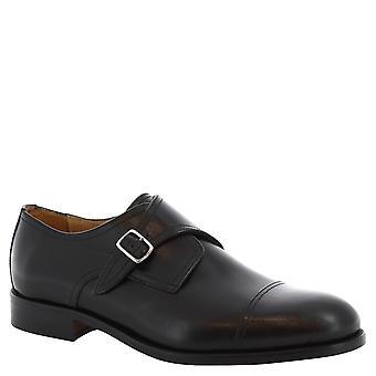 Leonardo Shoes Man's handmade monk shoes in black leather