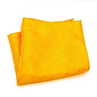 Orange solid paisley wedding groom event pocket square