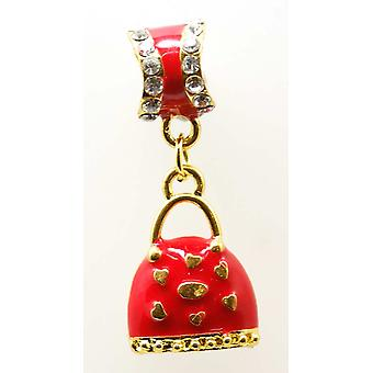 TOC BEADZ Red Handbag 8 x 34mm Dangle Charm Bead
