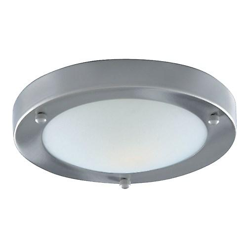 Searchlight 1131-31SS Dome Modern Bathroom Flush Ceiling Light With White Glass