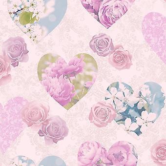 Les filles Rose Lilas coeurs roses papier peint fleurs floral métallisé fine Decor