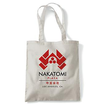 Nakatomi Plaza Tote | 80s Action Movie Blockbuster Inspired Yippee Ki-yay John McClane Hans Gruber | Cool Birthday 1988 Christmas Classic Retro Film Fan | Reusable Shopping Cotton Shopper Eco-Friendly