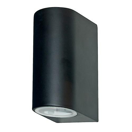 Searchlight 8008-2BK Modern Outdoor 2 Light Satin Wall Down Up Light GU10 35W IP44