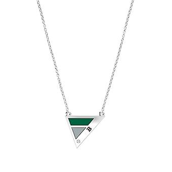 Babson College Babson Engraved Diamond Geometric Necklace In Green And Grey
