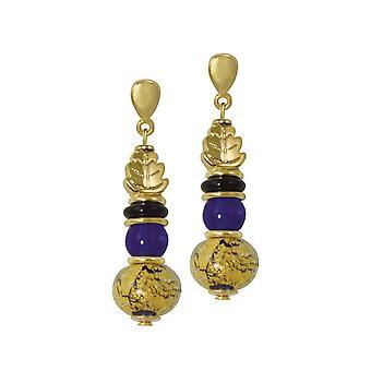 Eterna colección Natura azul y oro cristal de Murano gota pendientes perforados
