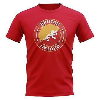 Bhutan Fußball Abzeichen T-Shirt (rot)