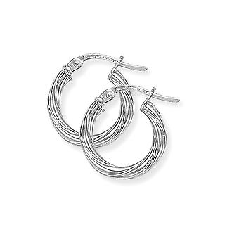 Jewelco London Ladies 9ct Bianco Oro Roccia Candyoto Hoop Orecchini - 13mm
