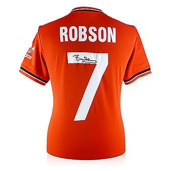 Bryan Robson signerad Manchester United 1984 skjorta