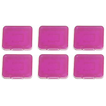 Pro tough plastic storage case holder covers for sd sdhc & micro sd memory cards - 6 pack purple