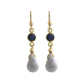 GEMSHINE Ohrringe mit Saphiren und hellblauen Achat Tropfen hochwertig vergoldet