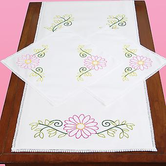 Stamped Dresser Scarf & Doilies Lace Edge-Daisies 449 553