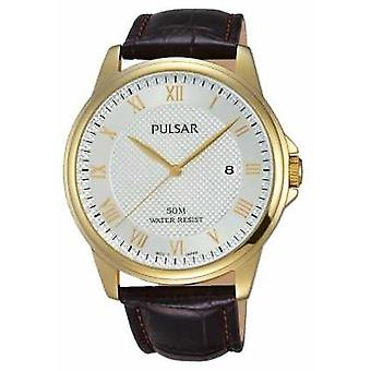 Pulsar Mens Brown Leather Strap Gold Plated Case PS9446X1 Watch