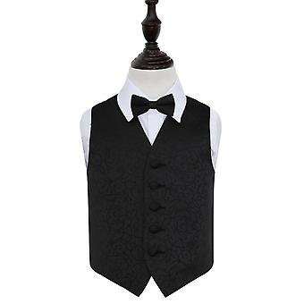 Boy's Black Swirl Patterned Wedding Waistcoat & Bow Tie Set