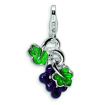 Sterling Silver 3-D Enameled Grapes With Lobster Clasp Charm - 2.5 Grams - Measures 26x14mm