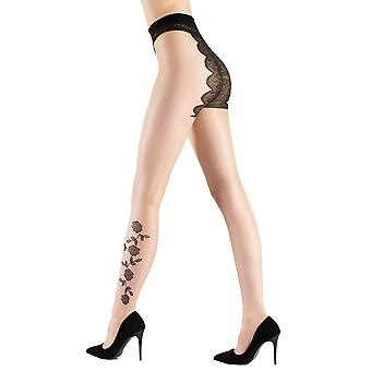 Blossy pantyhose flower motifs of delicate flowers 15 of THE Sahara beige