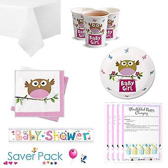 Little Owl Girl Baby Shower Party Tableware Saver Pack
