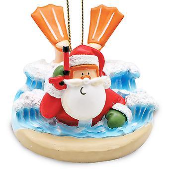Cape Shore Santa Body Surfing Tropical Christmas Holiday Ornament Resin