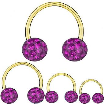 Circular Barbell Horseshoe Gold Plated Titanium 1,6mm, Multi Crystal Ball Purple | 8 - 16 mm