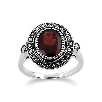 Sterling Silver 2.50ct Garnet & Marcasite Antique Style Cluster Ring
