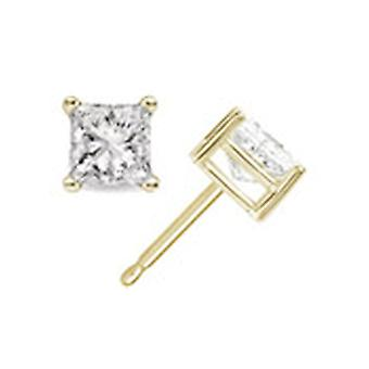 Pendientes del perno prisionero de 0,25 quilates princesa corte diamante en 14K oro amarillo