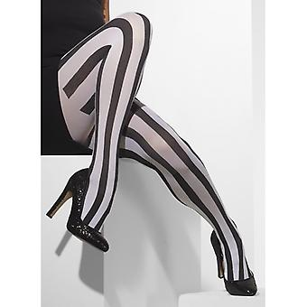 Pantyhose black white vertical stripes stripes