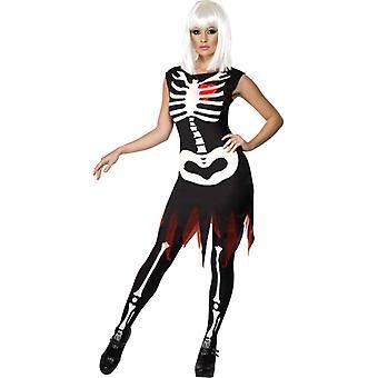 Skeleton costume dress bright LED Halloween ladies