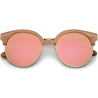 Womens Oversize Half Frame Color Mirror Flat Lens Round Sunglasses 55mm