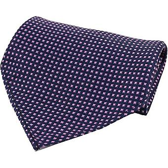David Van Hagen Box Pattern Silk Pocket Square - Navy/Pink