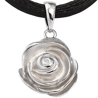 925 silver pendants silver Matt rhodium-plated flower