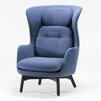 Thai Natura Black Wood Chair and Blue Fabric
