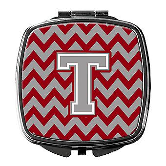 Letter T Chevron Crimson and Grey   Compact Mirror