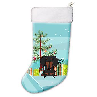 Merry Christmas Tree teckel noir Tan Christmas Stocking