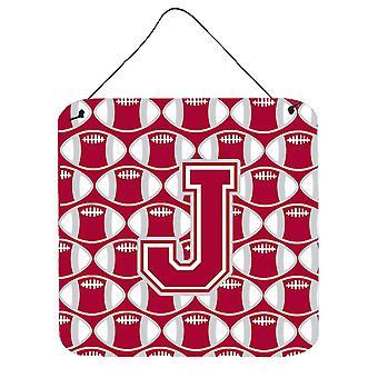 Buchstabe J Fußball Crimson, grau und weißen Wand oder Tür hängen Drucke
