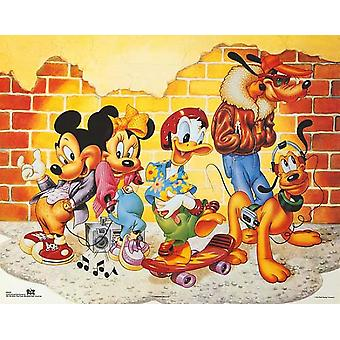 Mickey & Friends Brick Wall Poster Print by Walt Disney (20 x 16)