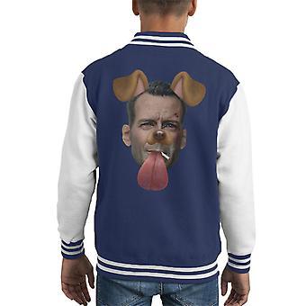 Die Hard John McClaine Dog Snapchat Filter Kid's Varsity Jacket