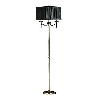Stanford Nickel Floor Lamp With Black Shade - Interiors 1900 63624