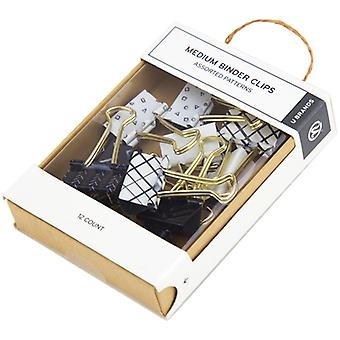 Medium Binder Clips Black & White With Gold Prongs-Assorted Prints, 12/Pkg 766A0624