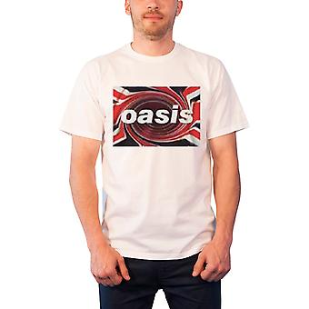 Oasis T Shirt Union Jack Swirl Band Logo Official Mens New White