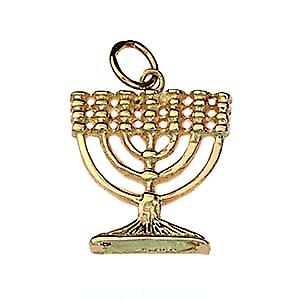 9ct Gold 17x17mm Menorah pendant or charm