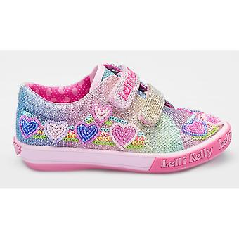 Lelli Kelly Hearts LK5071 Multi Glitter Covered Canvas Shoes