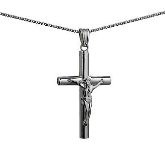 Silver 40x25x4mm handmade Memorial Crucifix Cross with a curb Chain 24 inches