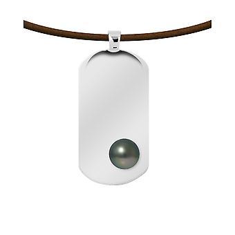 Uomo pelle collana, perle di Tahiti e lastra di argento sterling 925