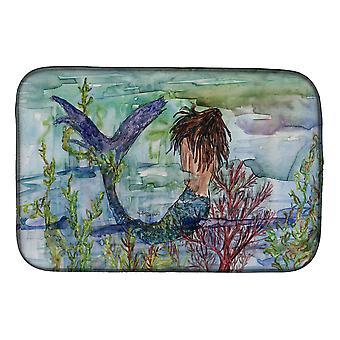 Carolines Treasures  8973DDM Brunette Mermaid Coral Fantasy Dish Drying Mat