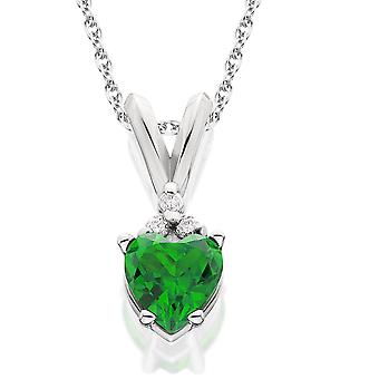 1/2ct Diamond & Simulated Emerald Heart Pendant 14K White Gold