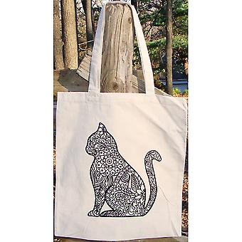 Stamped Canvas Tote To Color-Cat 98113T